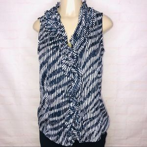 Ann Klein Blue and white blouse with front ruffle